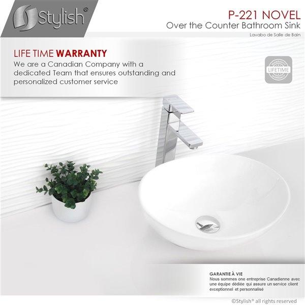 Vasque de salle de bain ovale en porcelaine blanche de Stylish, 15,75 po x 13,37 po