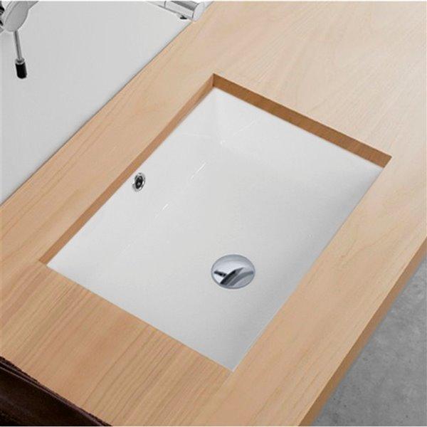 Lavabo de salle de bain rectangulaire en porcelaine blanche de Stylish avec trop-plein noir mat, 19,5 po x 15,5 po