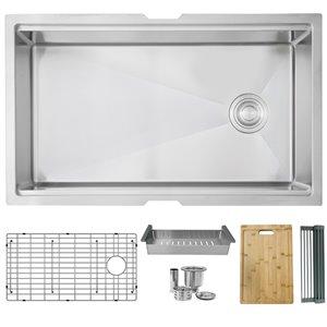 Évier de cuisine simple sous plan Versa de Stylish avec station de travail, 33 po x 19 po, nickel brossé