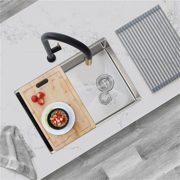 Évier de cuisine simple sous plan Versa de Stylish avec station de travail, 27 po x 19 po
