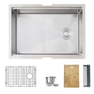 Évier de cuisine simple sous plan Versa de Stylish avec station de travail, 27 po x 19 po, nickel brossé