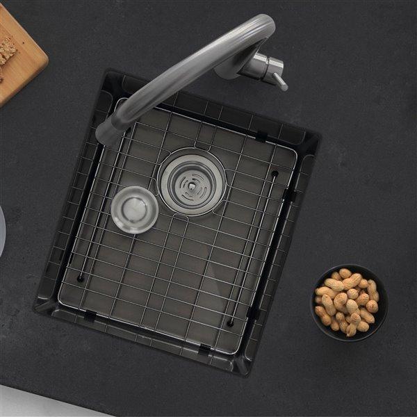 Évier de bar en acier inoxydable à une cuve en noir graphite de 16 po avec grille et crépine à panier