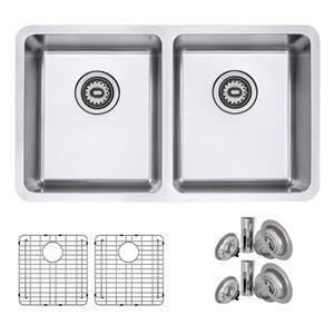 Évier de cuisine double sous plan Builders Avila de Stylish avec grilles, 30 po x 17,75 po, nickel brossé