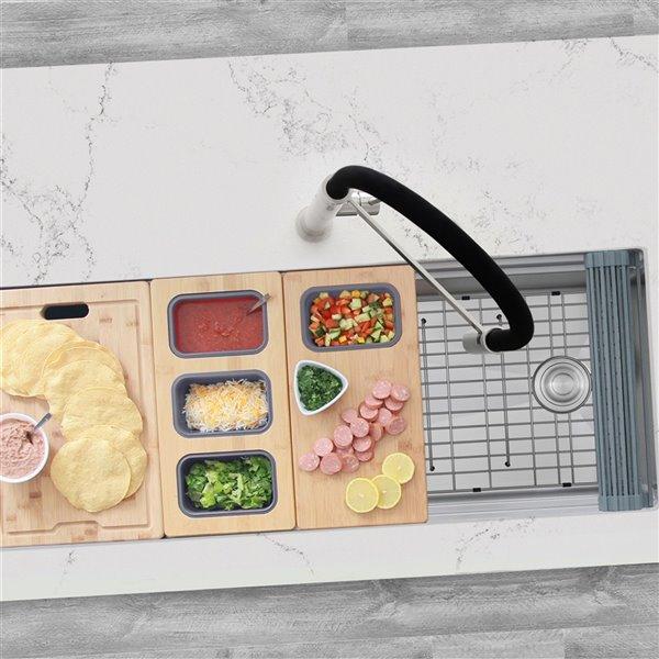 Évier de cuisine simple sous plan Versa de Stylish avec station de travail, 45 po x 19 po