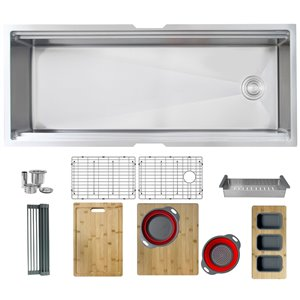 Évier de cuisine simple sous plan Versa de Stylish avec station de travail, 45 po x 19 po, nickel brossé