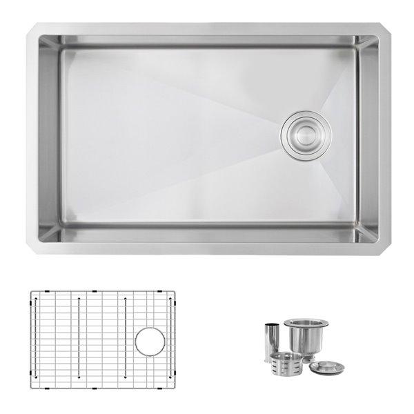 Évier de cuisine simple sous plan Bright Lyon d'Azuni, 28 po x 18 po, nickel brossé