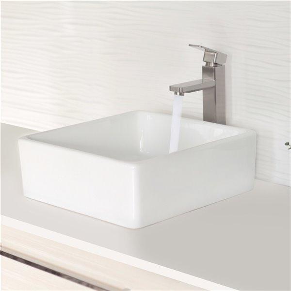 Vasque de salle de bain carrée en porcelaine blanche de Stylish, 15 po x 15 po