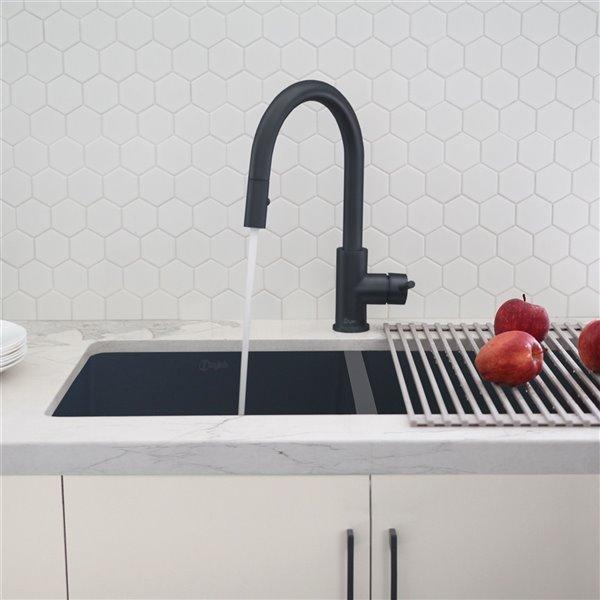 Robinet de cuisine à arc élevé Modena par Stylish avec 1 poignée/levier, noir mat