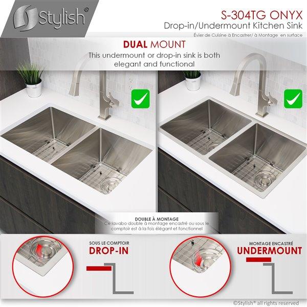 Évier de cuisine double à encastrer/sous plan Styluxe Onyx de Stylish, 30 po x 18 po