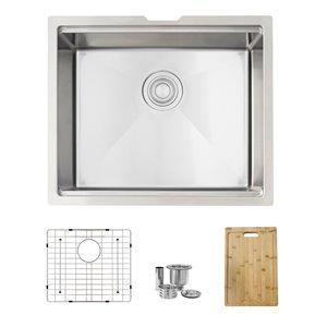 Évier de cuisine simple sous plan Versa de Stylish avec station de travail, 22 po x 19 po, nickel brossé
