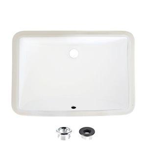 Lavabo de salle de bain rectangulaire en porcelaine blanche de Stylish avec trop-plein noir mat, 21,25 po x 14,5 po
