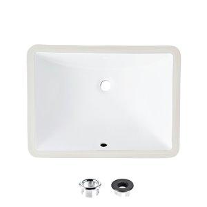 Lavabo de salle de bain rectangulaire en porcelaine blanche de Stylish avec trop-plein noir mat, 18,25 po x 13 po