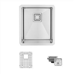 Évier de cuisine simple sous plan Cube Kubo de Stylish, 16 po x 18 po, nickel brossé