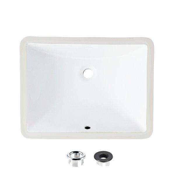 Lavabo de salle de bain rectangulaire en porcelaine blanche de Stylish avec trop-plein noir mat, 20,75 po x 15,5 po