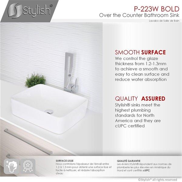Stylish White Porcelain Vessel Rectangular Bathroom Sink - 18.75-in x 14.5-in