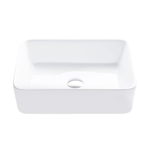 Vasque de salle de bain rectangulaire en porcelaine blanche de Stylish, 18,75 po x 14,5 po