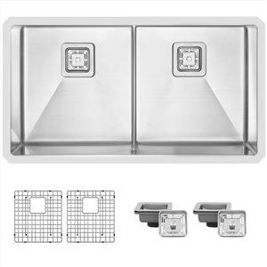 Évier de cuisine double sous plan Cube Spazio de Stylish, 33 po x 18 po, nickel brossé