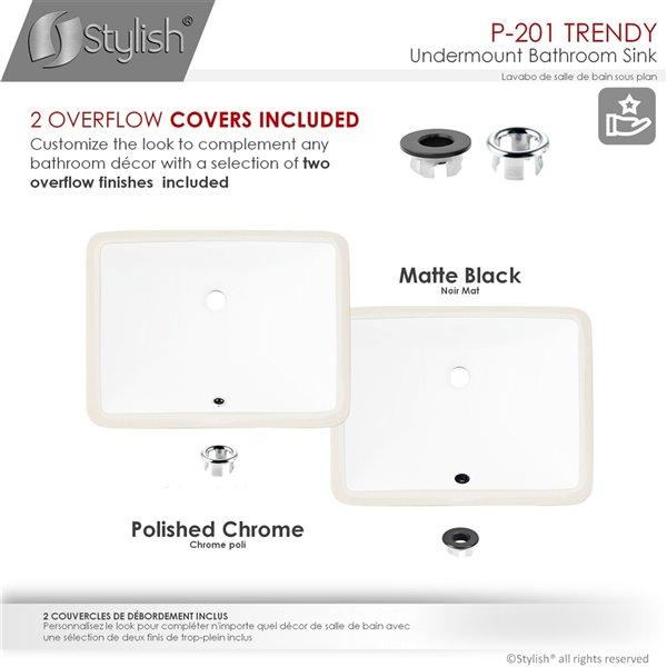 Stylish White Porcelain Undermount Rectangular Bathroom Sink with Overflow Drain - 18.25-in x 13-in
