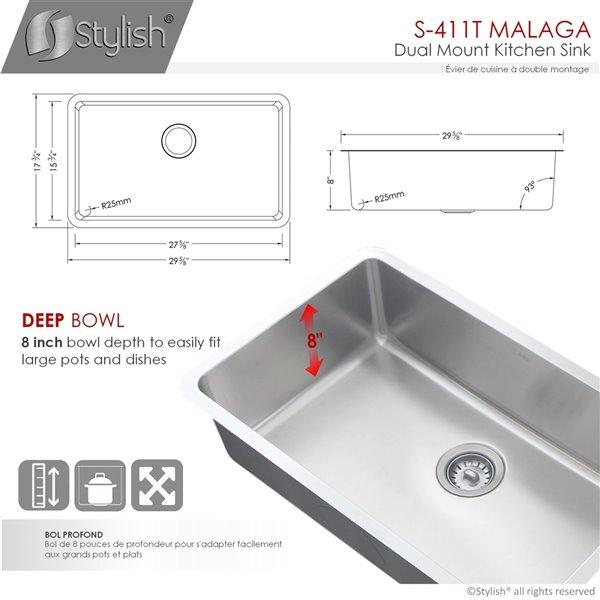Évier de cuisine simple sous plan Builders Malaga de Stylish, 29,62 po x 17,75 po