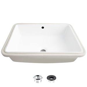 Lavabo de salle de bain rectangulaire en porcelaine blanche de Stylish avec trop-plein, 19,5 po x 15,5 po