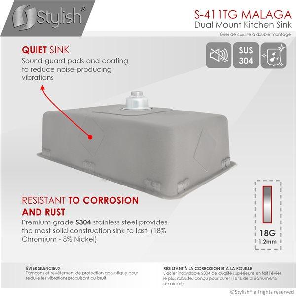 Évier de cuisine simple sous plan Builders Malaga de Stylish avec grilles, 29,62 po x 17,75 po