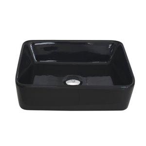 Vasque de salle de bain rectangulaire en porcelaine noire de Stylish, 18,75 po x 14,5 po