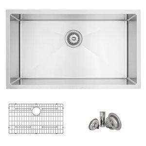 Évier de cuisine simple sous plan Canda Valencia de Stylish avec grilles, 31,25 po x 18 po, nickel brossé