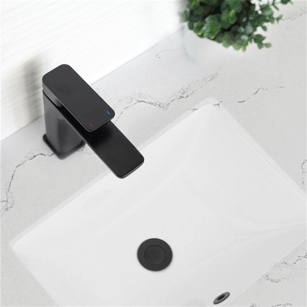 Lavabo de salle de bain rectangulaire en porcelaine blanche de Stylish avec trop-plein, 20,75 po x 15,5 po