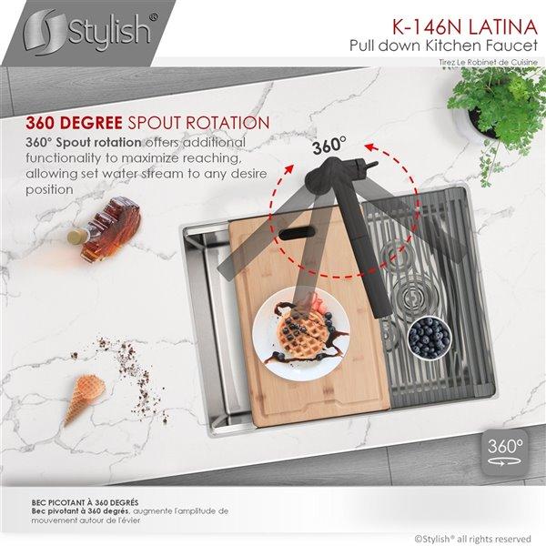 Robinet de cuisine à arc élevé Latina par Stylish avec 1 poignée/levier, noir mat