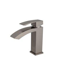 Robinet pour lavabo de salle de bain nickel brossé  à 1 poignée Sabana par Stylish avec plaque de finition