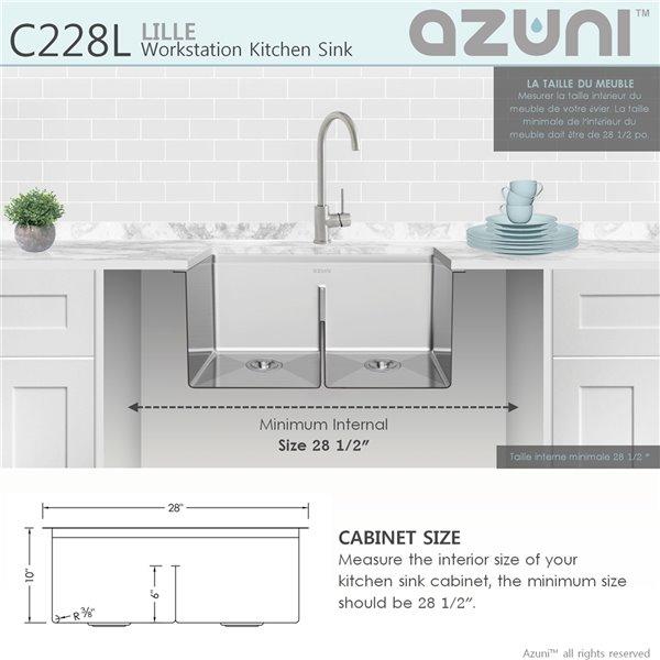 Évier de cuisine double sous plan Bright Lille d'Azuni avec station de travail, 28 po x 19 po, nickel brossé