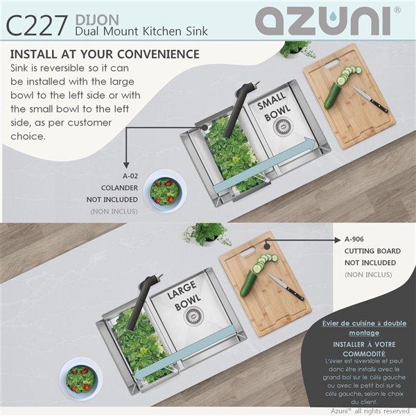 Évier de cuisine double décalé sous plan Azuni Dijon, 27 po x 18 po, nickel brossé