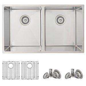 Évier de cuisine double sous plan Bright Maxi d'Azuni, 32 po x 18,5 po, nickel brossé