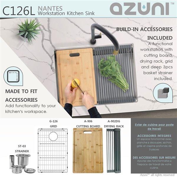 Évier de cuisine simple sous plan Azuni Nantes avec station de travail, 25 po x 19 po, nickel brossé