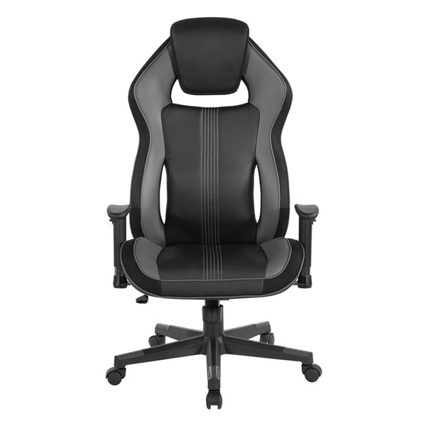 Chaise grise pivotante, contemporaine et ergonomique  avec appui-tête, à hauteur réglable de OSP Home Furnishings