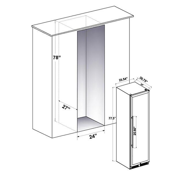 Réfrigérateur à vin autoportant de FORNO, double zone de température, 108 bouteilles