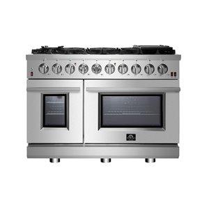 Cuisinière à gaz FORNO ALTA QUALITA 48 po double four à convection en acier inoxydable, 8 brûleurs, 4,32 pi³/2,26 pi³