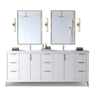 Urban Woodcraft Forest Made Willow 72-in White Double Sink Bathroom Vanity with White Quartz Top