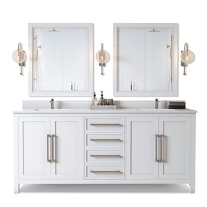 Urban Woodcraft Forest Made Aspen 72-in White Double Sink Bathroom Vanity with White Quartz Top (Mirror Included)