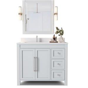 Urban Woodcraft Forest Made Alpine 36-in Grey Single Sink Bathroom Vanity with White Quartz Top