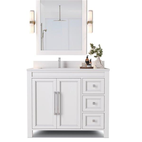 Urban Woodcraft Forest Made Alpine 36 In White Single Sink Bathroom Vanity With White Quartz Top Rona