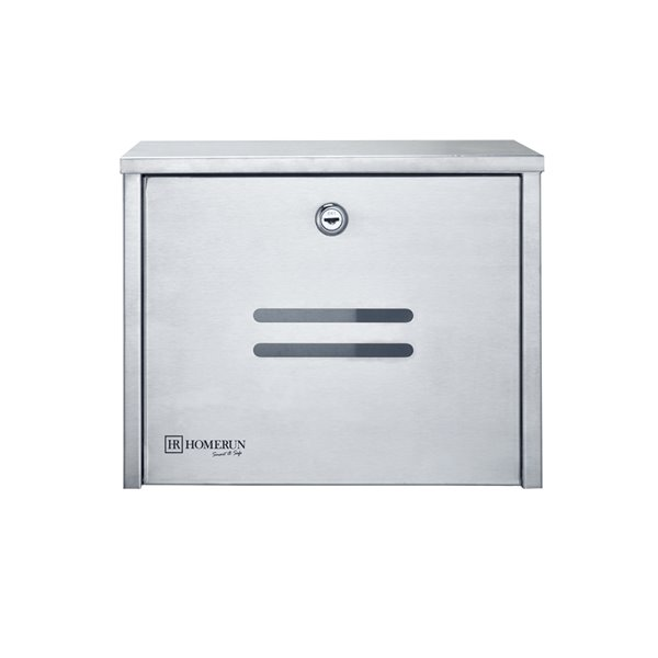 Homerun Smart & Safe 10-in x 4-in Stainless Steel Wall Mounted Lockable Mailbox