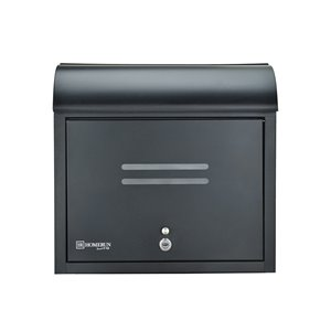 Homerun Smart & Safe 14.5-in x 4.75-in Black Wall Mounted Lockable Front Opening Mailbox