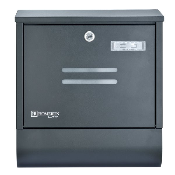 Homerun Smart & Safe 13-in x 4-in Black Metal Wall Mounted Lockable Mailbox with Newspaper-Holder