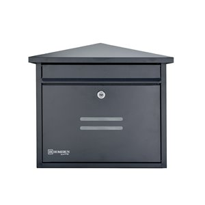 Homerun Smart & Safe 13.75-in x 8-in Black Wall Mounted Lockable Mailbox