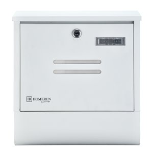 Homerun Smart & Safe 13-in x 4-in White Metal Wall Mounted Lockable Mailbox with Newspaper-Holder