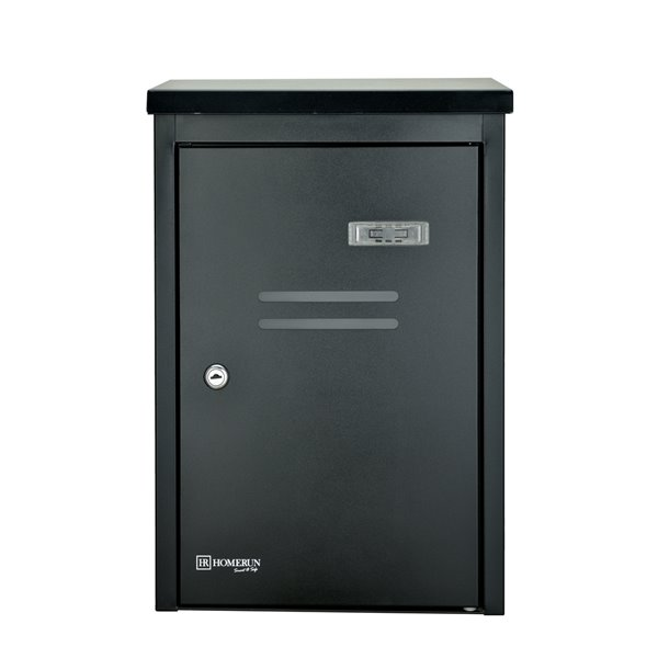Homerun Smart & Safe 19-in x 8.25-in Black Wall Mounted Lockable Mail and Parcel Box
