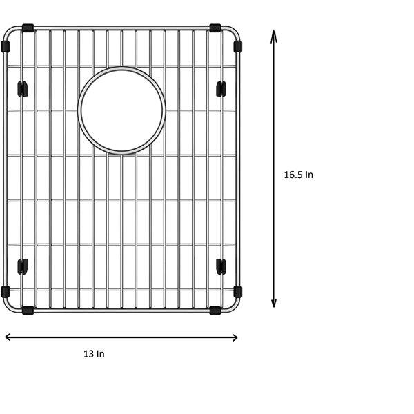 Grille d'évier en acier inoxydable poli Elegant par Elegant Stainless de 16,50 po x 13 po