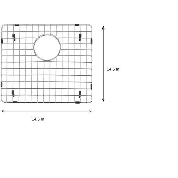 Grille d'évier en acier inoxydable poli Elegant par Elegant Stainless de 14,50 po x 14,50 po