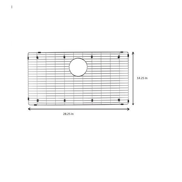 Grille d'évier en acier inoxydable poli Elegant par Elegant Stainless de 14,25 po x 28,25 po